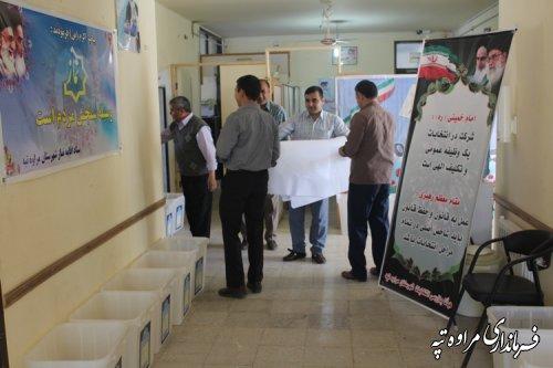 آماده سازی صندوق های اخذ رأی توسط اعضای هیئت اجرایی انتخابات شهرستان مراوه تپه