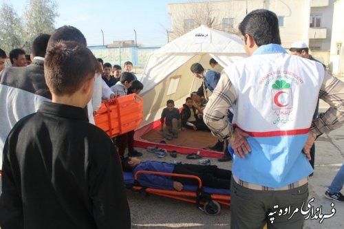 برگزاری مانور سراسری زلزله و ایمنی درتمام مدارس شهرستان مراوه تپه