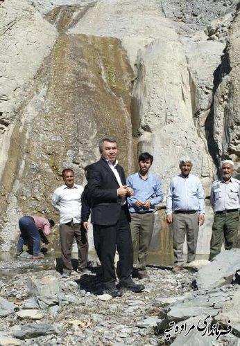 بازدید فرماندار شهرستان مراوه تپه از آبشار زیبای و دیدنی  آق قلعه بخش مرکزی مراوه تپه.