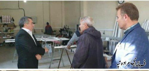 حضور فرماندار در کارگاه تولیدی جهت ایجاد انگیزه کار وتلاش و وکارآفرینی در شهرستان مراوه تپه.