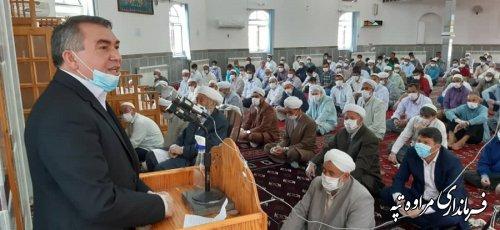 نماز جمعه شهرستان مراوه تپه ، با رعایت پروتکل های بهداشتی اقامه گردید
