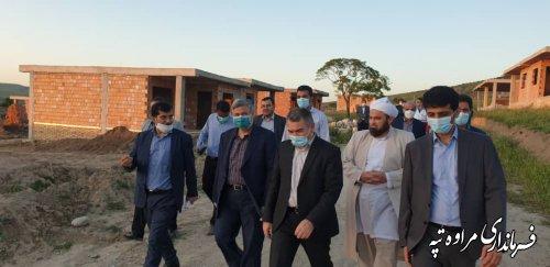 بازدید مسئولین استانی و شهرستانی از پروژه 49 واحدی مسکن جوانان روستای چنارلی