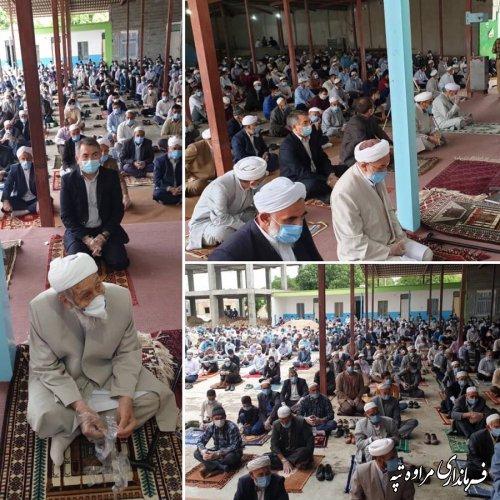 نماز عید فطر در شهرستان مرزی مراوه تپه با رعایت دستورالعمل ستاد ملی کرونای کشور در فضاهای باز مساجد محلی اقامه شد