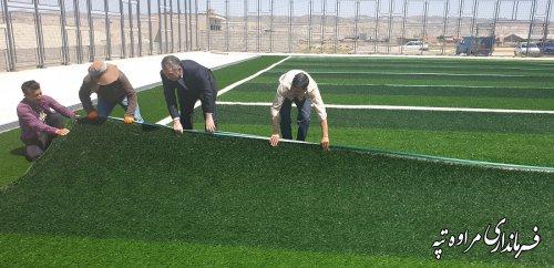 بازدید فرماندار مراوه تپه  از پروژه احداث زمین ورزشی چمن مصنوعی فوتسال شهر مراوه تپه