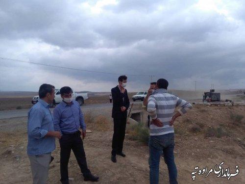 بازدید بخشدار قربانی از منبع آب شرب  روستای یانبلاغ