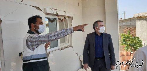 بازدید فرماندار مراوه تپه از روستاهای خسارت دیده از زلزله صبح امروز